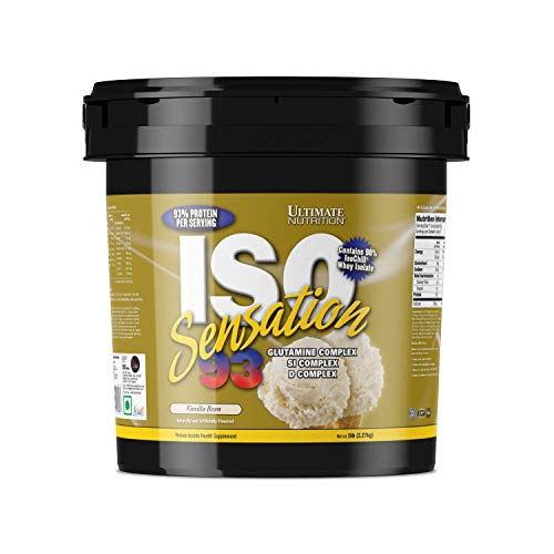 Ultimate Nutrition Iso Sensation 93 Fat Free Whey Protein Isolate Powder with Glutamine – 30 Grams of Pure Protein, Low Carb, Keto Friendly, Vanilla Bean, 5 Pounds