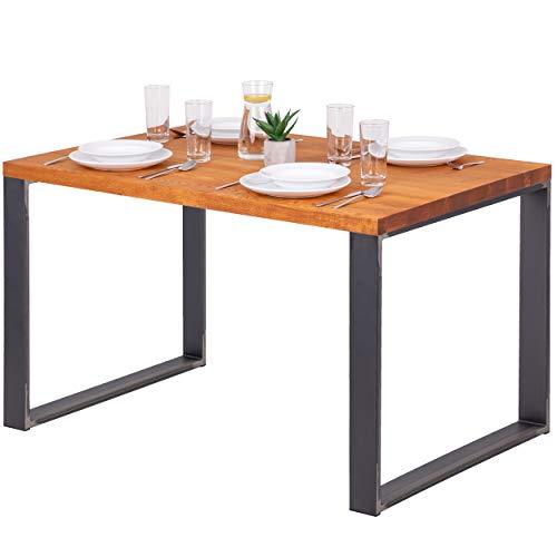 LAMO Manufaktur Schreibtisch Esstisch Massivholz Küchentisch 120x80x76 cm, Modern, Esche Dunkel/Rohstahl mit Klarlack, LEG-01-A-004-0000M