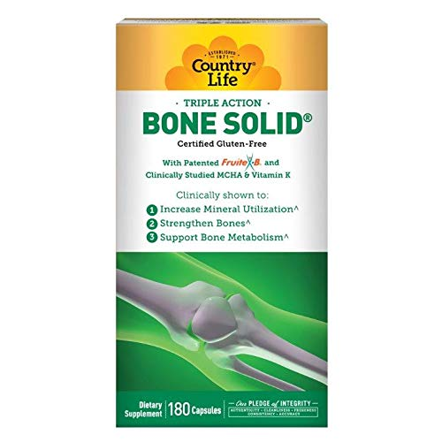 Country Life Triple Action Bone Solid - 180 Capsules - Increase Mineral Utilization - Strengthen Bones - Bone Metabolism