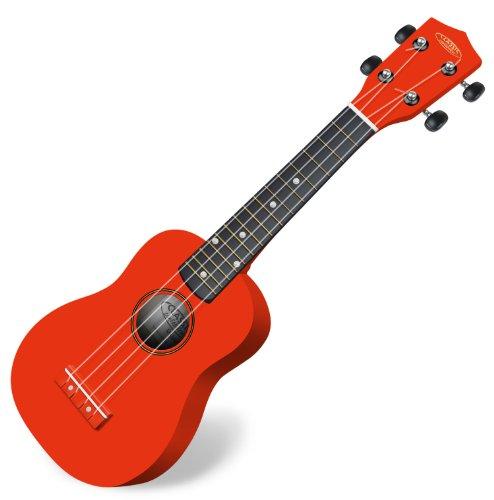 Classic Cantabile US-100 RD Sopranukulele (Ukulele, Uke, 15 Bünde, leichtgängige Gitarrenmechanik) rot