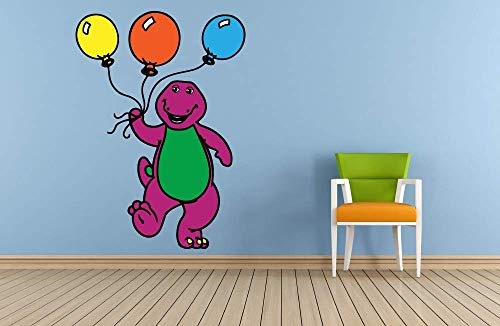 Barney and Friends Dinosaur Balloon Decors Wall Sticker Art Design Decal for Girls Boys Kids Room Bedroom Nursery Kindergarten House Fun Home Decor Stickers Wall Art Vinyl Decoration (30x17 inch)