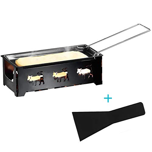 Cheese Raclette, Portable Foldable Non-Stick Candlelight Raclette Pan with Spatula Barbecue Home Kitchen Grilling Tool