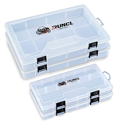RUNCL Fishing Tackle Box, 4 Packs Plastic Storage Box with Removable Dividers, 3500/3600 Tackle Boxes Organizer - Clear Tackle Storage Trays for Lures, Baits - Box Organizer Container