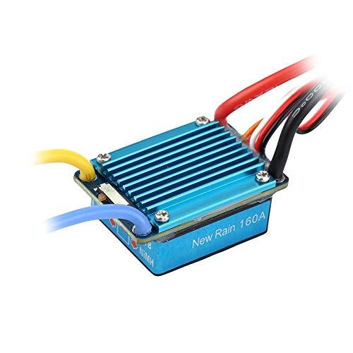 RC Impermeable ESC, Controlador Electrónico de Velocidad a Prueba de Agua 3S 160A Cepillado ESC con Manual para 1/12 (o Lager) RC Coche