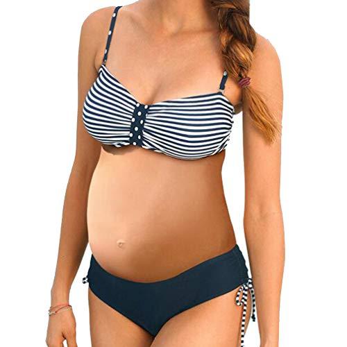 Bikini Embarazada Más el Tamaño Maternidad Tankinis Estampado de Rayas Bikinis Traje de baño Ropa de Playa de Dos PiezasS-5XL