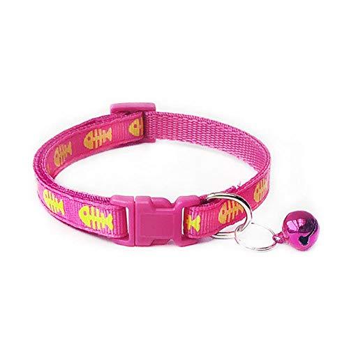 DioLm Netter Karikatur-Hundehalsbänder Welpen Adjustable Polyester Halskette Schöne mit Glocken Druck-Katze-Hundehalsketten-Kragen,C Rosa,S
