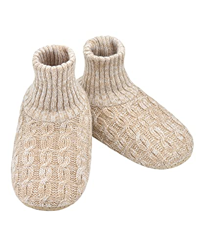 Panda Bros Slipper Socks For Women With Grippers, Fuzzy Womens Slipper Booties With Non Slip Bottoms, Cozy Warm House Slippers(Wheat Color, 5-7.5)