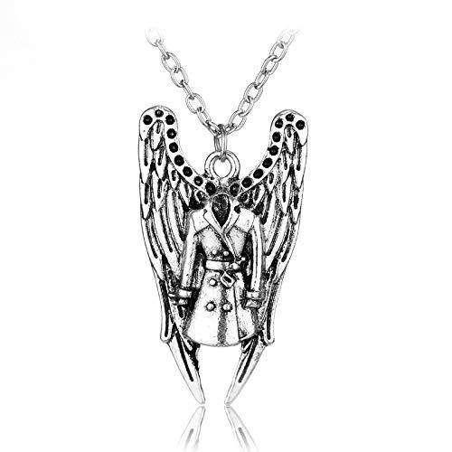 DYKJ Collar Sobrenatural Pentagrama Pentáculo Castiel Alas de ángel Colgante de Plata Antiguo Vintage Joyas para Hombres Mujeres Regalo