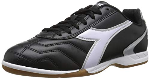 Diadora Men's Capitano ID Indoor Soccer Shoes (11.5, Black/White/Silver)