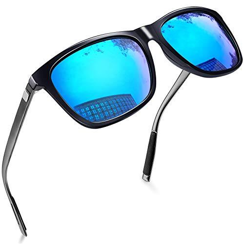 Joopin Lentes de Sol Hombre y Mujer Polarizados Cuadrados Unisex Anteojos Clásicos UV400 Protección Original Retro para Conducir y Deportes al Aire Libre Aluminio Azul