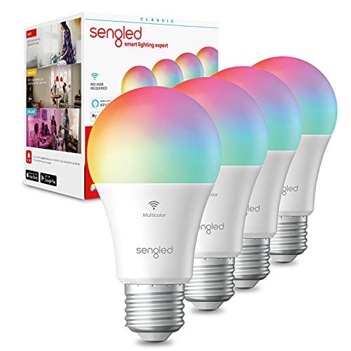 Sengled Smart Bulb, WiFi Light Bulbs, Color Changing Light Bulb, Smart Light Bulbs that Work with Alexa & Google Assistant, A19 RGB Alexa Light Bulb No Hub Required, 60W Equivalent 800LM CRI>90, 4Pack