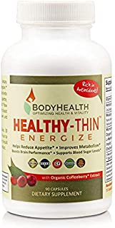 BodyHealth Healthy-Thin Energize (90 Capsules) Weight Loss Dietary Supplement, Appetite Suppressant, Energy & Metabolism Booster, w/Organic Coffee Berry Extract - Antioxidant & Detox Support
