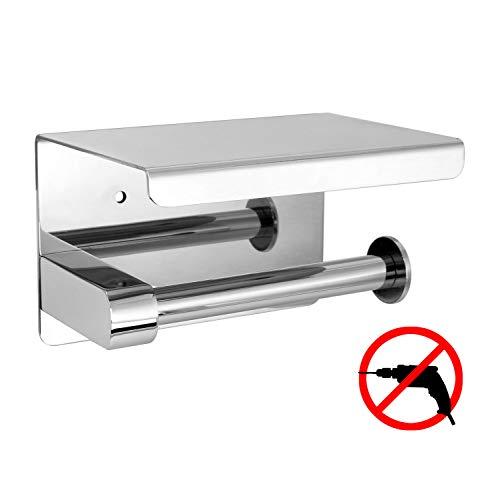 Klopapierrollenhalter mit Ablage Ohne Bohren Toilettenpapierhalter Zur Wandmontage für Küche und Badzimmer WC Rollenhalter Silber