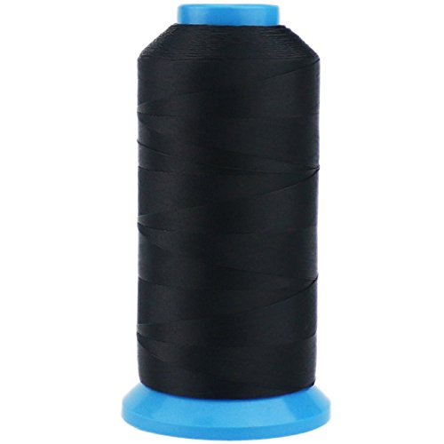TinaWood 1500 Yard Size T70#69 Bonded Nylon Sewing Thread for Weaves (Black)