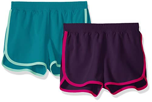 Amazon Essentials - Pack de 2 pantalones cortos deportivos para correr de niña, Jewel/Teal, US 2T (EU 92-98)