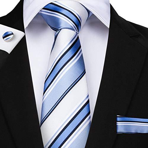 KYDCB 160 Cm Longueur 6 Styles Rayé Hommes Cravate Bleu Hanky Boutons De Manchettes Ensembles Cravate De Soie des Hommes pour Hommes 8.5 Cm Cravate Business Party Cravatte