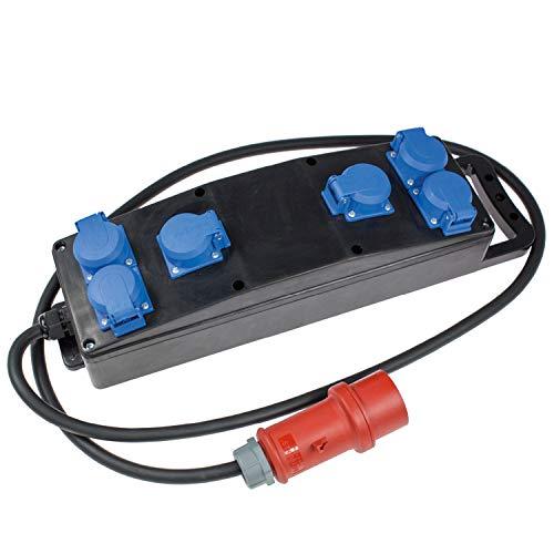 as - Schwabe Stromverteiler Vollgummi-Steckdosenleiste S2 – Robuste Baustellen-Leiste mit 5-poligem CEE-Stecker 400 V, 16 A auf 6 x Schuko-Steckdosen 230 V, 16 A – IP44 – Made in Germany I 60854