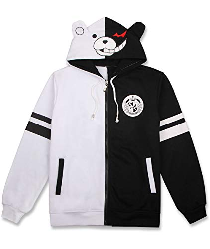 Coslover Black White Bear Hoodies Zipper Unisex Jacket Cosplay Costume Sweatshirts White/Black Uniform