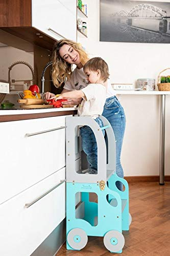 Toddler in Family Torre de Aprendizaje/Escritorio y Taburete Montessori (Azul/Gris)