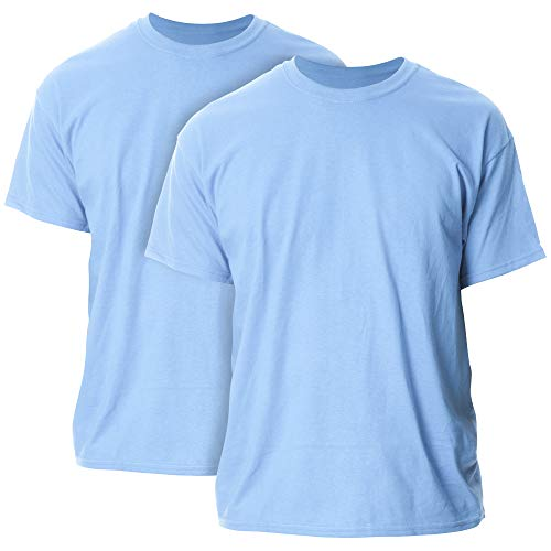 Gildan Men's Heavy Cotton Adult T-Shirt, 2-Pack, Carolina Blue, X-Large
