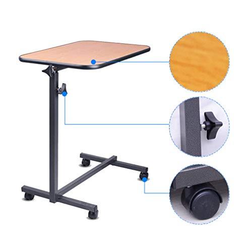 WEHOLY Klapptisch Überbetttisch mit Rädern   Flacher Rollbett-Beistelltisch für den medizinischen oder häuslichen Gebrauch Höhenverstellbarer Krankenhaustisch mit feststellbaren Rollen