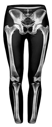 (skeleton) - Alive Women's New Design Supernova Unicorn Rainbow Digital Printed Tight Leggings , One size