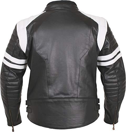 Modeka motorjack Rock - Biker lederen jas in retro racing stijl - zwart-wit