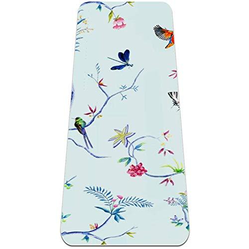 Esterilla Yoga Mat Antideslizante Profesional - Flamingo rama pájaro mariposa - Colchoneta Gruesa para Deportes - Gimnasia Pilates Fitness - Ecológica