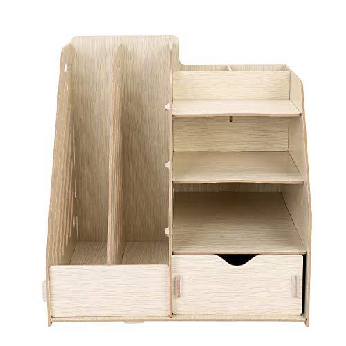 Portariviste A4, organizer da scrivania, 8 scomparti, con cassetti, portapenne, in legno, per cataloghi, fai da te, rimovibile, per ufficio, scuola, università