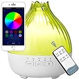 GXZOCK 350ml Humidificador de aromas, Altavoces Bluetooth, Bluetooth 5.0, Humidificador ultrasónico con Luz Nocturna de 8 Colores, Humidificador Aceites Esenciales Ultrasónico, con Lámpara Fragante