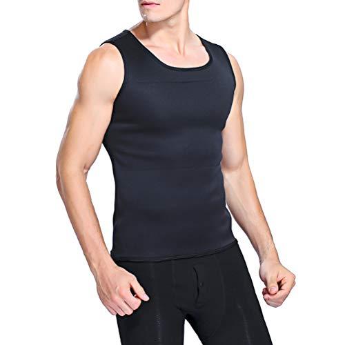 Modelador corporal masculino emagrecedor, camisa de cintura de barriga, colete de emagrecimento elástico, colete de compressão térmica, camada de base de compressão fina, regata muscular tamanho GG (preto)