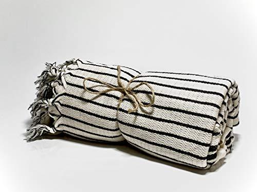 AKEM Toalla pestemal tejida a mano, toalla de sauna, toalla de baño, toalla de playa, toalla de hamam, en diseño de rayas, color blanco y negro, 100% algodón, para W/M/D 180 x 85 cm
