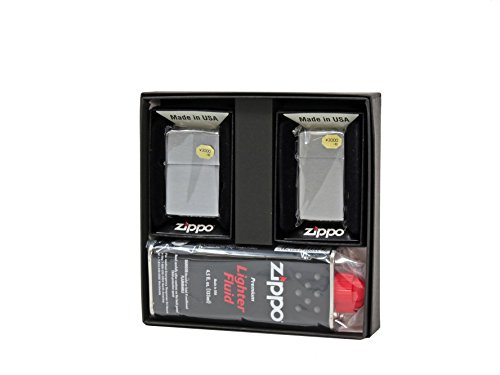 【ZIPPO】 ジッポーライター オイル ライター ペア ZIPPO社定番 銀色クロームブラッシュジッポ レギュラー&スリム 2個セット ペアセット専用パッケージ入り(オイル缶付き)