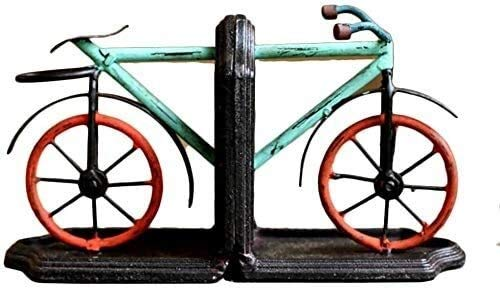 JDTBYMXX Vintage Decorative Bookends, Book Ends Bookends Book Shelves Heavy Duty Metal Bicycle Bookends Nonskid Bookends Art Bookend Decorative Unique,1 Pair