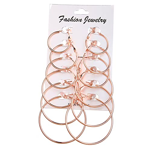 FEARRIN Pendientes Pendientes de Moda Pendientes de aro de Oro Conjunto Pendiente Circular Grande Pendientes de joyería para Mujeres Niñas Pendiente de Clip de Oreja de Vapor H87-ZL0872-3