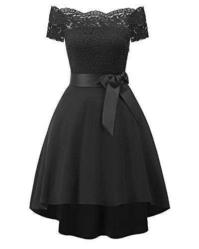 Laorchid Vintage Damen Kleid Spitzenkleid Off Schulter Cocktail Knielang A-Linie Schwarz L