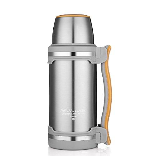 Oneisall GYBL0742 l Edelstahl-Thermosflasche, Isolierflasche–doppelwandiger Edelstahl (BPA-frei), mit Trinkbecher, zum Wandern/Camping/Sport uvm. edelstahl