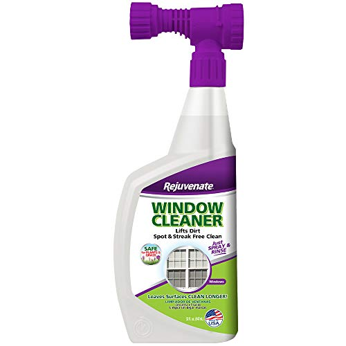 Rejuvenate High Performance Outdoor Window Spray and Rinse Cleaner with Hose End Adapter Instantly Removes Grime and Dirt Streak-Free Shine (32 oz)