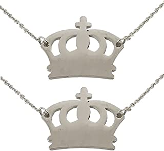 Utkarsh (Set Of 2 Pcs) Silver Color Fancy & Stylish Trending Valentine's Day Special Metal Stainless Steel King Queen Crow...