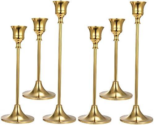 Anndason Set of 6 Gold Candlestick Holders Gold Candle Holder Taper Candle Holders Candle Holder product image