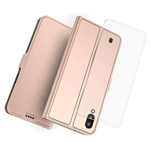 fitmore Samsung Galaxy M10 Leder Hülle, Hülle Kompatible für Samsung Galaxy M10 Schutzhülle Tasche Schutz Cover [Ultra Slim] Flipcase Etui Brieftasche Flipcover mit Ständer & Magnetverschluss