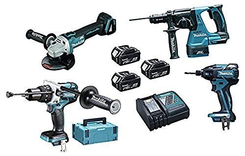 Makita DLX4050TJ Máquinas Pack 4 + 3 bateria 18V 5Ah Li-ion + 2 maletin Makpac