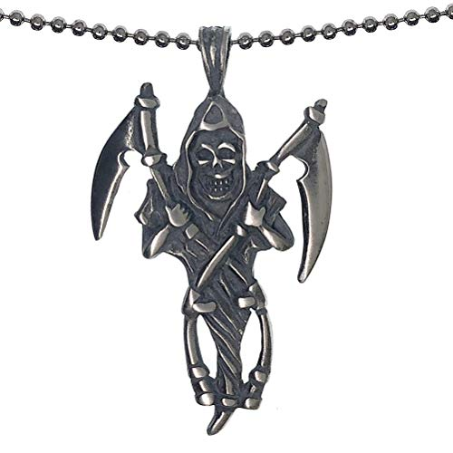 Halloween Jewelry Gothic Grim Reaper Death Angel Scythe Skull Skeleton Black Magic Pewter Men's Pendant Necklace Good luck Lucky Charm Protection Amulet Safe Travel Talisman Silver Ball chain