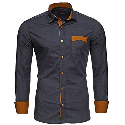 Reslad Herren Hemd bügelfrei Slim Fit Freizeit Männer Hemden Business Oberhemd Kontrast buntes Langarm RS-7205 Anthrazit XXL