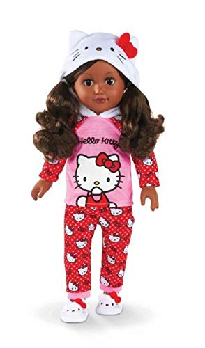 My Life As Hello Kitty Doll, African American, 18-inch Poseable Doll with Cute Hooded Pajamas and Adorable Slippers! + 8 Extra Doll Accessories! Hair is brushable and Eyes Open & Close!