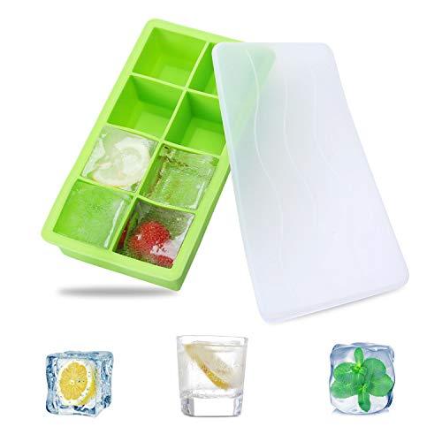 Eiswürfelform,SS SHOVAN Umweltfreundlicher Grüner Nahrungsmittelgrad-Silikon 8 Eiswürfel,Einfach,Eiswürfel für Whisky-Cocktail Oder Babynahrung Eiswürfel,Wiederverwendbar und BPA-Frei