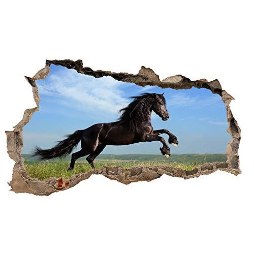 3D Muurtattoo muursticker muursticker muursticker doorbreken dieren zelfklevend H 60 x B 100 slaapkamer woonkamer Wl34 paard Friese