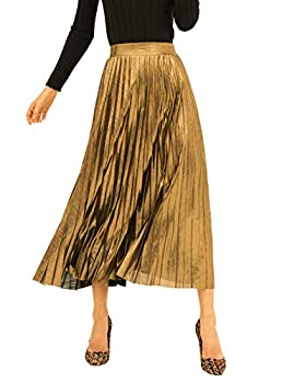 INDJXND Metallic Pleated Skirts for Women Glitter Holiday Flowy Maxi Skirt Sparkly SK002-Gold-2XL