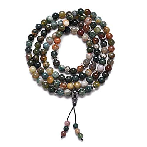 YAZILIND 108 Oraciones Perlas Mala Pulseras Collar Tibetano Buda Budista Meditación Collares #9