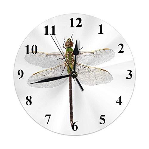 Reloj de libélula para mujer, insecto verde, libélula con alas extendidas en el aire, reloj de pared redondo, resistente, sin tictac, rústico, decoración del hogar, 10 pulgadas, para cocina, baño, ofi